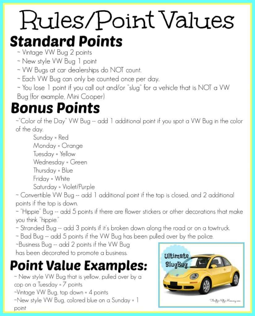 Printable Ultimate SlugBug Points