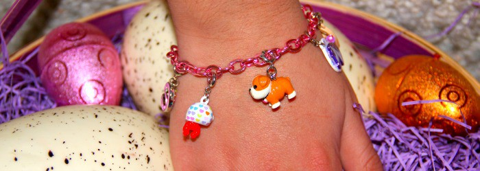 charm bracelet in basket