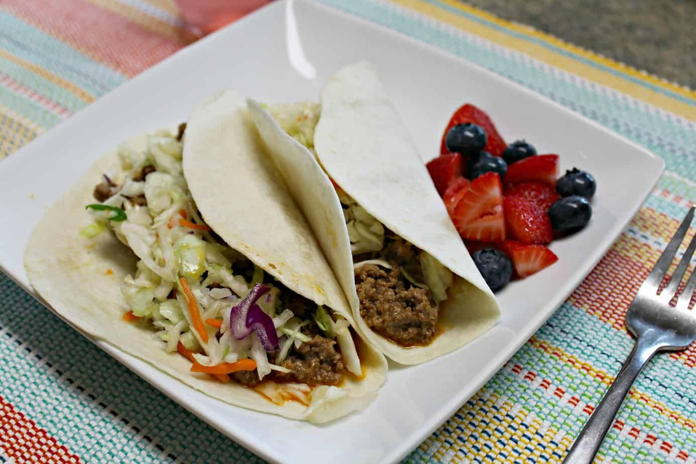 Dinnerly - Cheesy Grass-Fed Beef Tacos with Shredded Cabbage & Carrots
