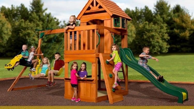 Win The Backyard Discovery Atlantis Wooden Swing Set