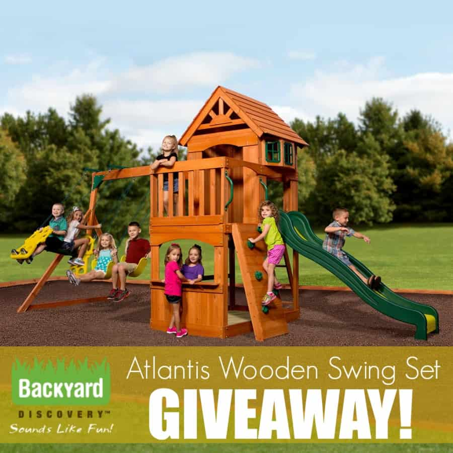 89374a048d8ae Backyard Discovery Atlantis Wooden Swing Set - Thrifty Nifty Mommy