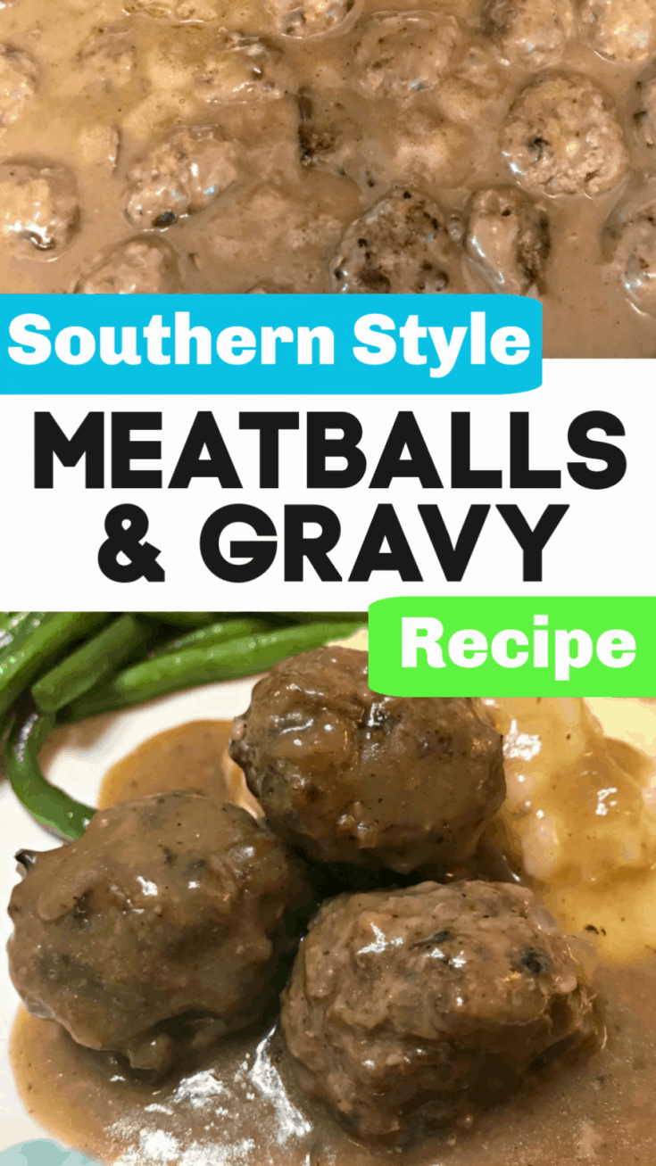 Southern Meatballs and Gravy Recipe - pair it with rice, egg noodles, or mashed potatoes for a delicious homemade meal!