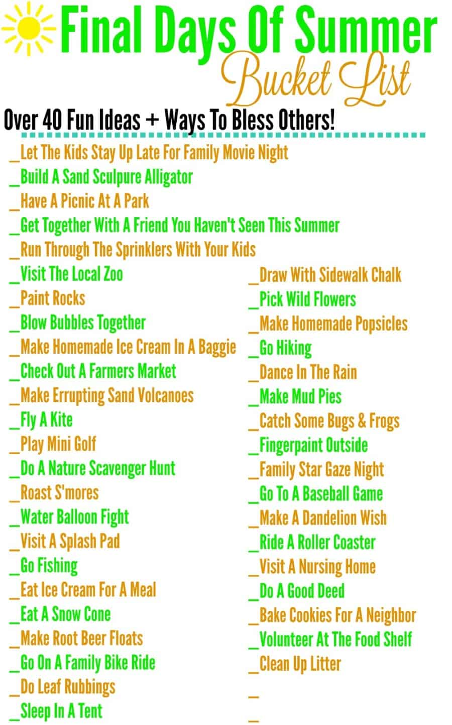Final Days Of Summer Bucket List + Ways To Bless Others (Free Printable)