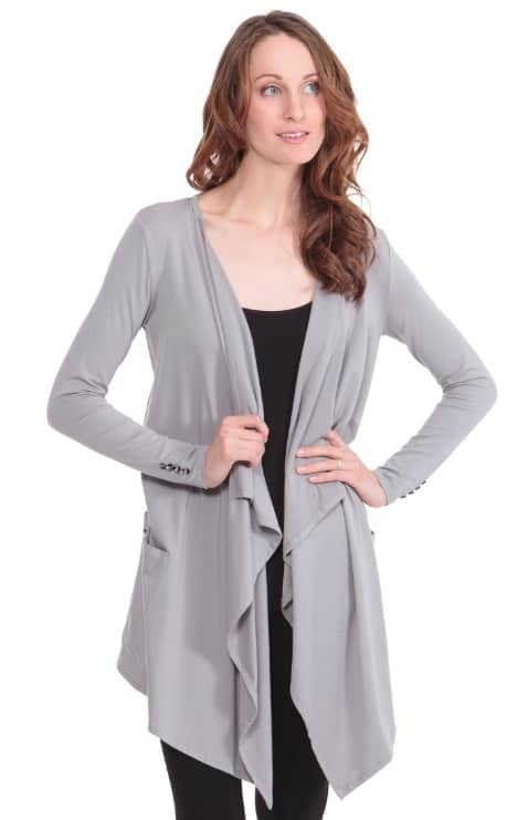 TexereSilk Caireen DRAPED FRONT CARDIGAN WITH POCKETS
