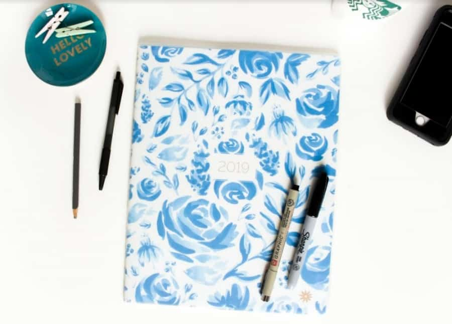 bloom daily planners 2019 MONTHLY PLANNER, BLUE FLORAL