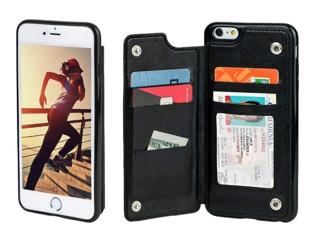 Gear Beast iPhone 6 / 6s Wallet Case, Top View Flip Folio for iPhone