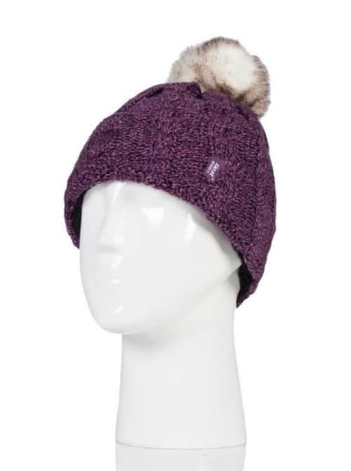 Heat Holders Ladies Roll Up Pom Pom Hats 1