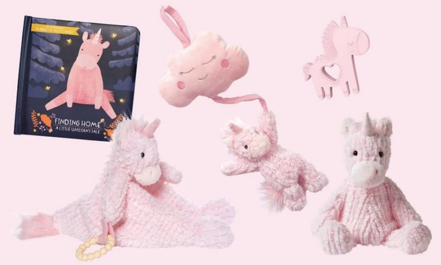 Manhattan Toy Company A Little Unicorn Pink Baby Book & Toy Bundle Set