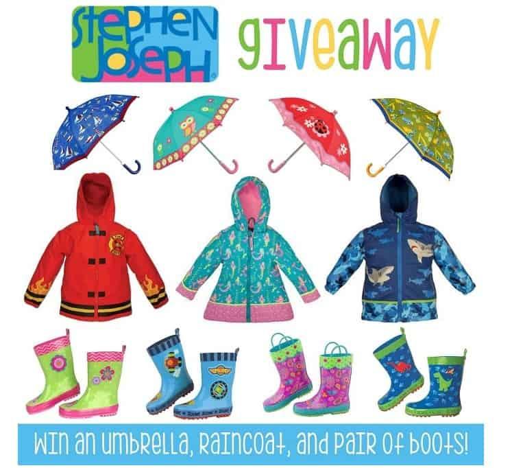 Stephen Joseph Kids Umbrella, Rain Boots, and Rain Coat Giveaway