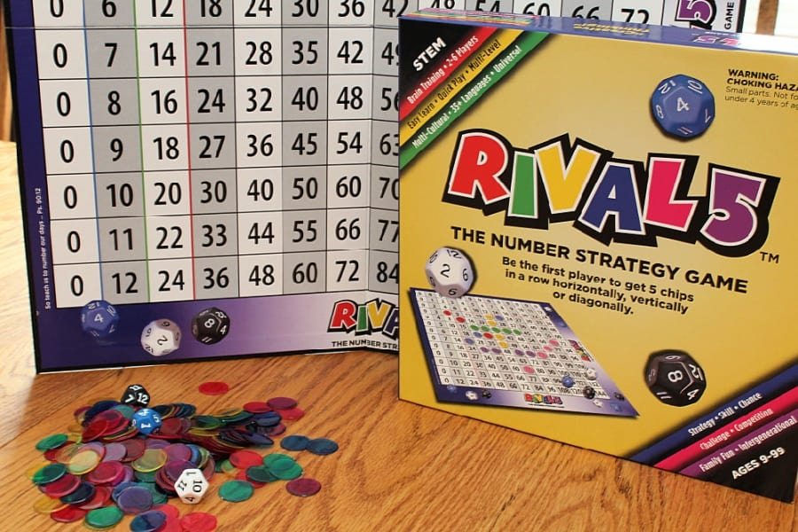 Rival 5 Educational Number Strategy Game - RIVAL 5 - A brain-training game of skill and chance, for ages 9-99. As a STEM tool, it is the ideal game for the classroom and at home.