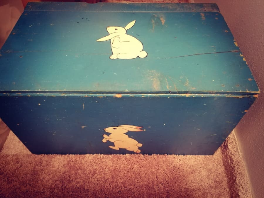 Family heirloom toy box with rabbit