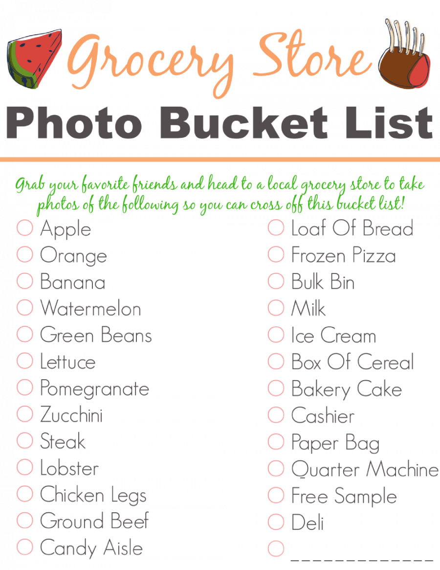 Free Printable Grocery Store Photo Bucket List