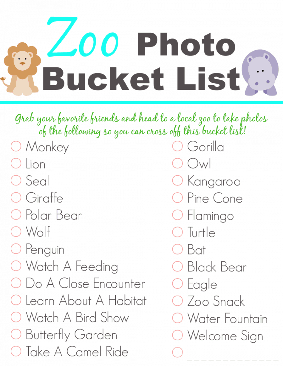 Free Printable Zoo Photo Bucket List
