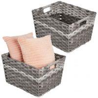 Wide Rectangular Woven Storage Baskets