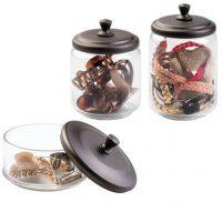 Round Glass Vanity Storage Canister Set