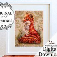Red Fox Digital Animal Print
