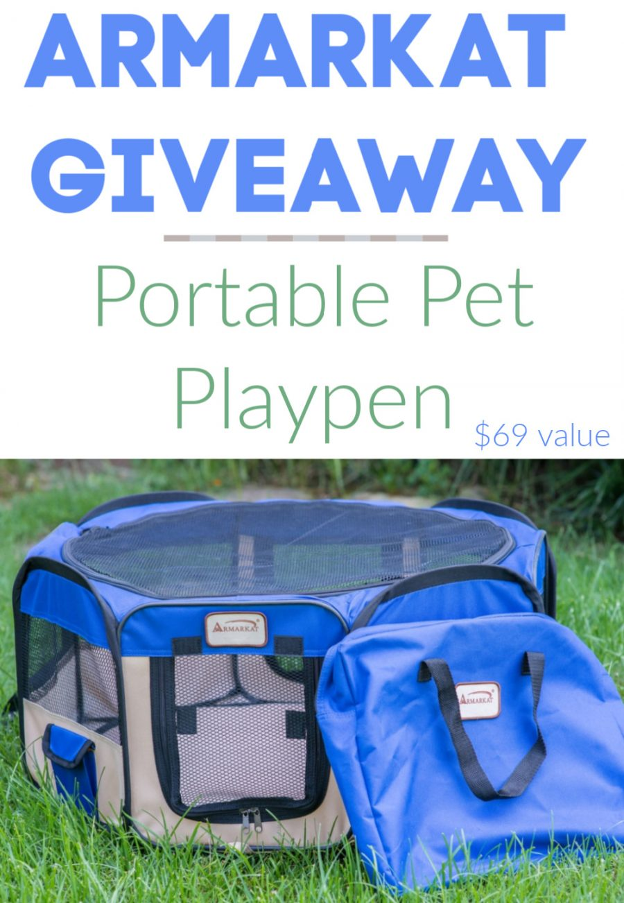Armarkat Portable Pet Playpen Giveaway - Armarkat Portable Playpen PP001B Medium Blue and Beige Combo Giveaway 1