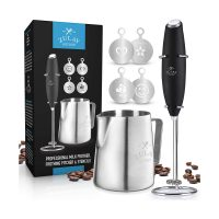 Zulay High Powered Milk Frother, Frothing Pitcher & Stenciles