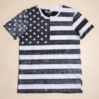 Boys Black and White American Flag Tee