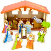 14-Piece Wooden Christmas Nativity Set