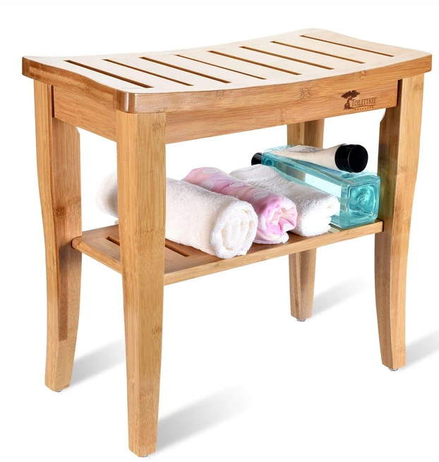 Toilet Tree Products Bamboo Bench with Foot Stool