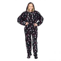 Snowmen and Candy Canes Black Ugly Christmas Pajama Suit with Hood