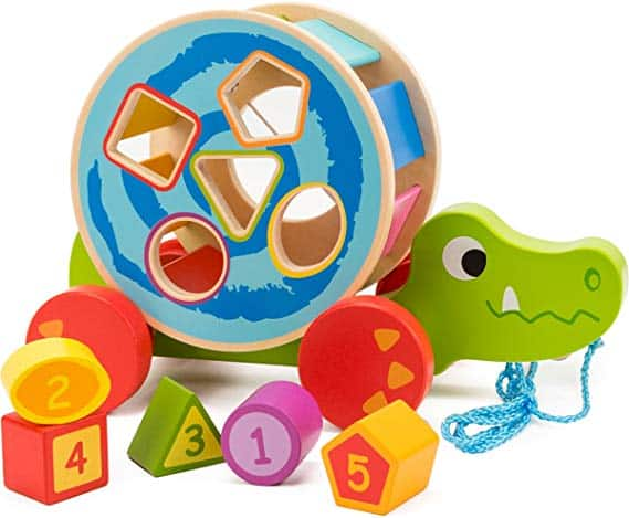 COSSY Wooden Shape Sorter Pull Toy