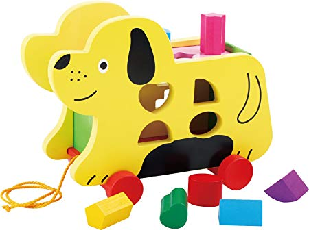 TOWO Wooden Pull Along Dog with Shape Sorter