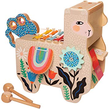 Musical Llama Wooden Instrument for Toddlers with Maraca, Clacking Saddlebags, Drumsticks, Washboard & Xylophone