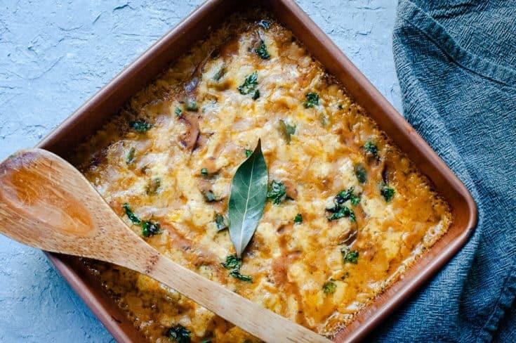 Cheesy Mexican Butternut Squash Casserole (Gluten-Free, Vegan Option)