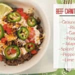 Beef Carnitas Bowls Recipe {With Pepper Jack, Pickled Jalapeño, & Spiced Creama} (1)