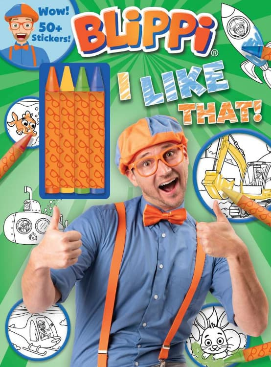 Blippi: I Like That! Coloring Book with Crayons