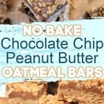 No Bake Peanut Butter Chocolate Chip Oatmeal Bars Recipe