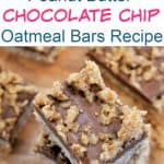 No Bake Peanut Butter Chocolate Chip Oatmeal Bars Recipe - Outrageously Delicious!