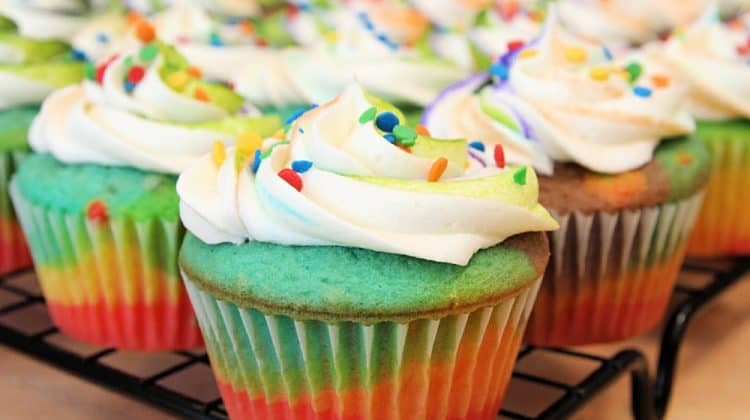Easy Rainbow Cupcakes Recipe + Cream Cheese Buttercream Frosting Recipe