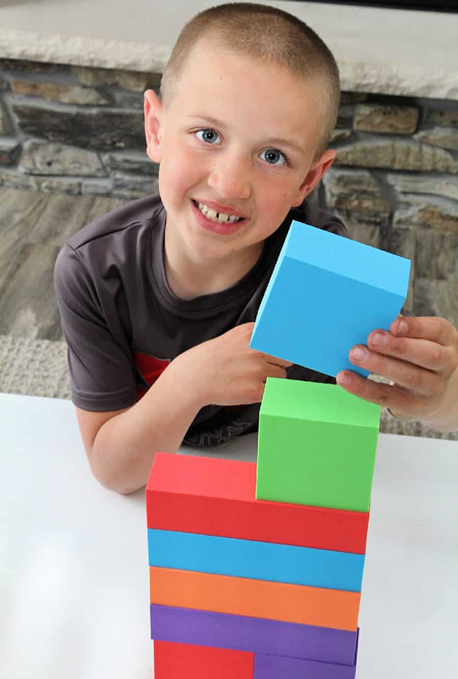 boy with blocks - Premium Joy Foam Building Blocks Set – 68 Pieces