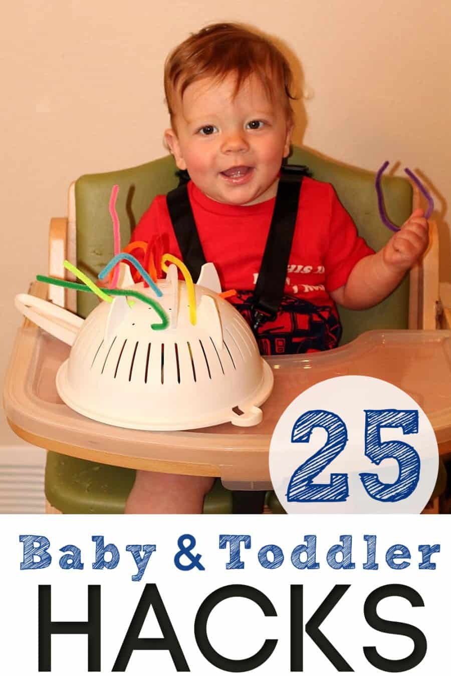 toddler in highchair with homemade popsicle toy - 25 parenting hacks