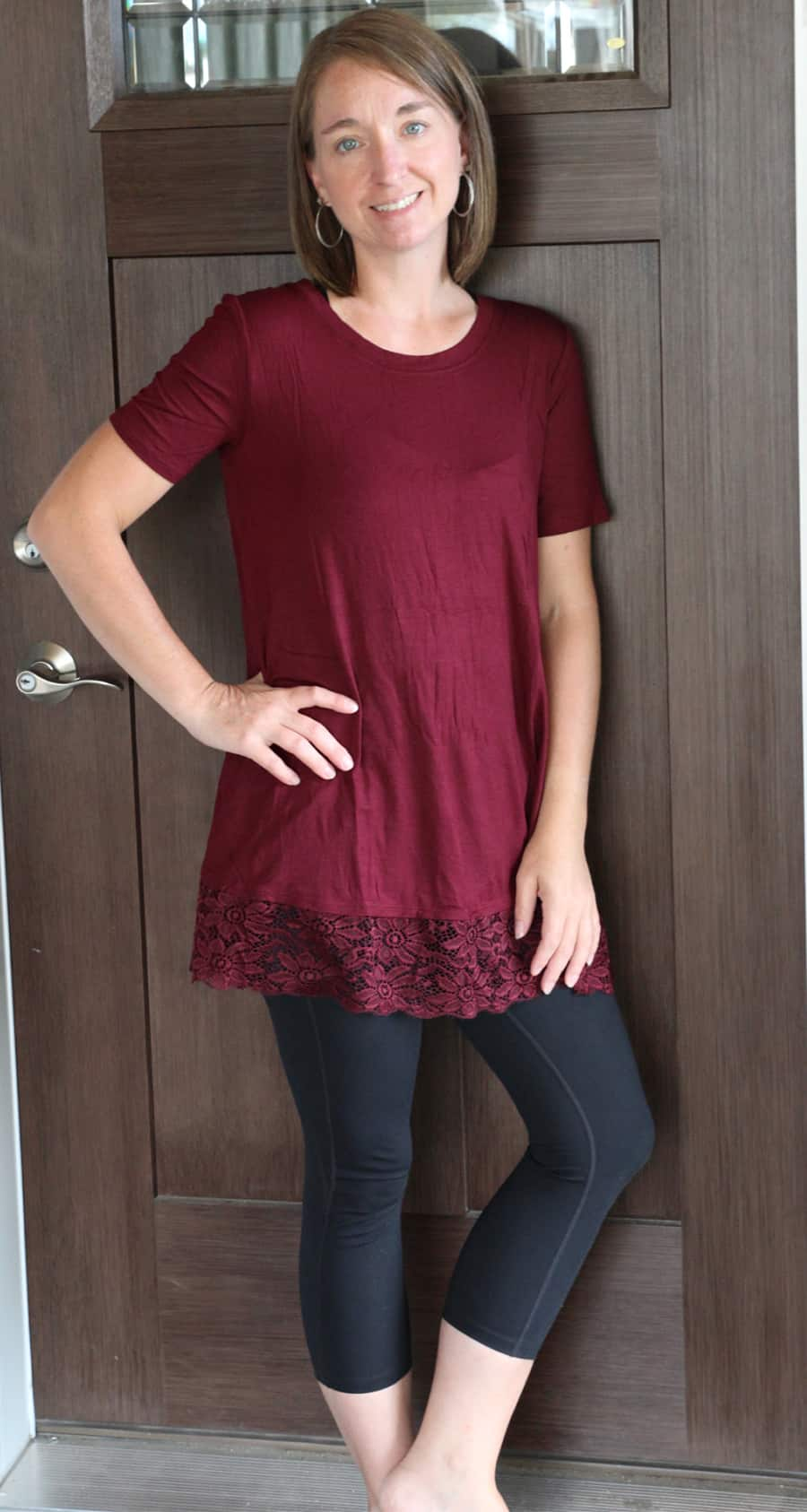 woman standing - Dina's Short Sleeve Lace Bottom