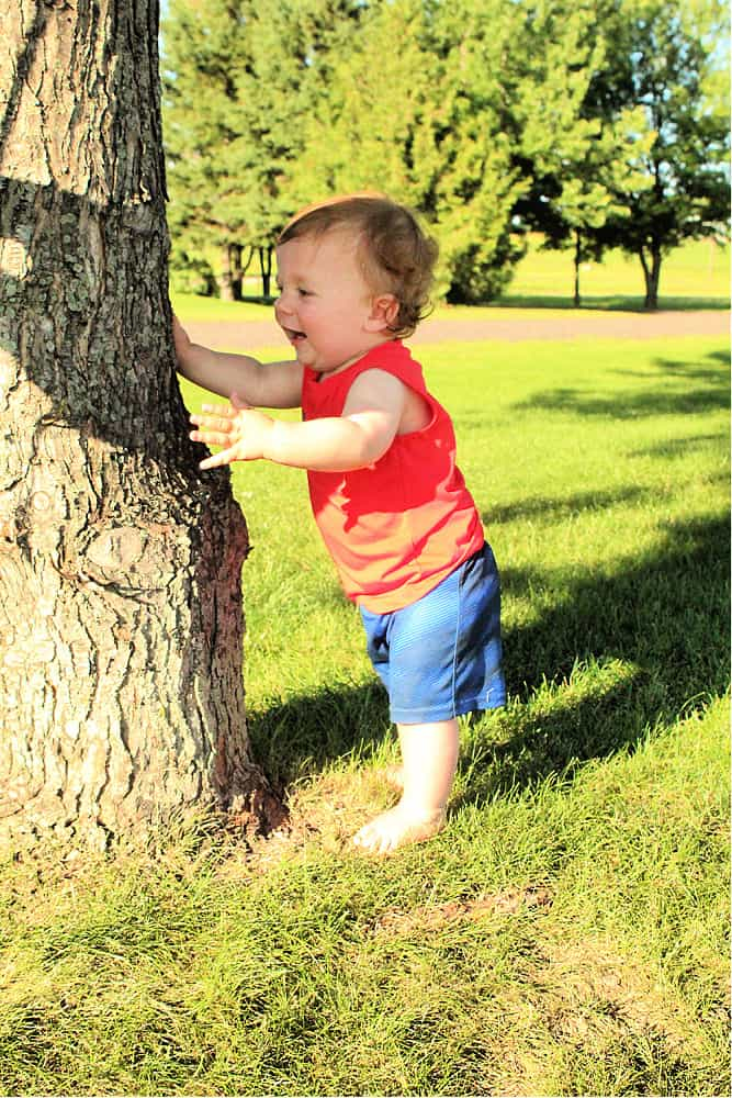 Toddler barefoot by tree