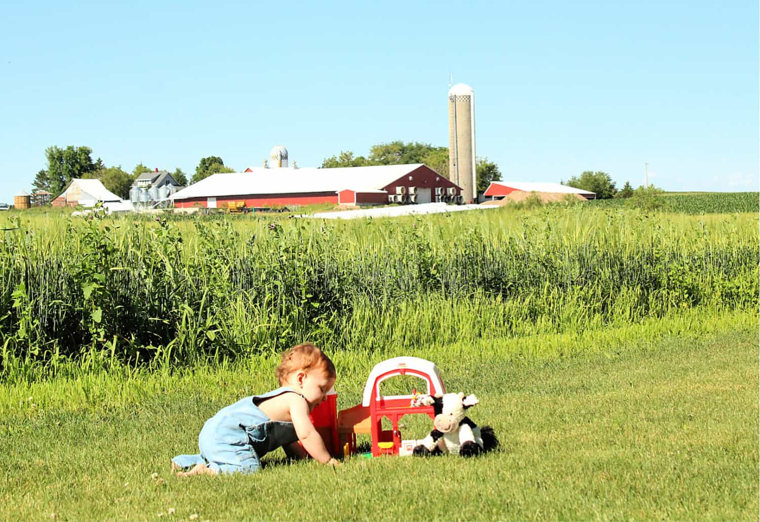 toddler playing farm outside