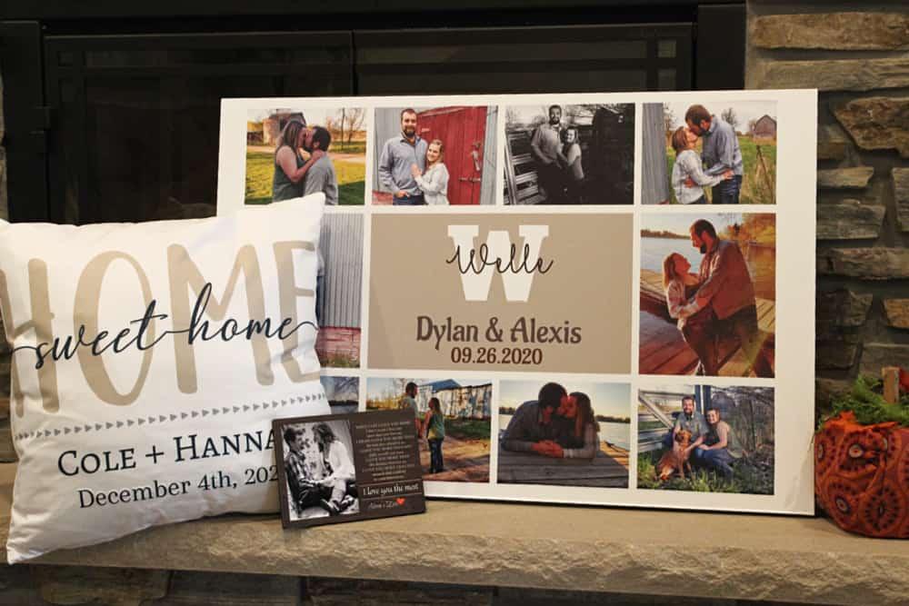 custom gift items - 365Canvas - Custom Wedding Monogram Photo Collage Canvas Print, Pillow, & Desk Frame