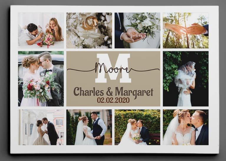 custom wedding canvas print - Custom Wedding Monogram Photo Collage Canvas Print