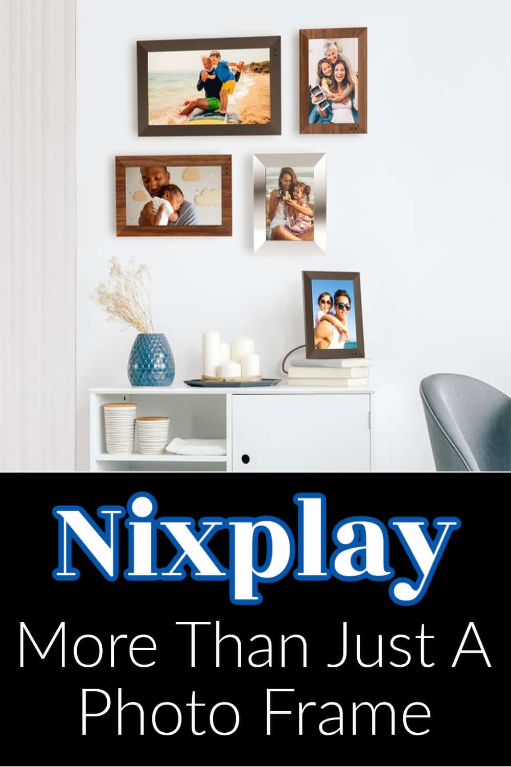 """""""Nixplay More Than Just A Photo Frame"""" . Wall with multiple frames"""