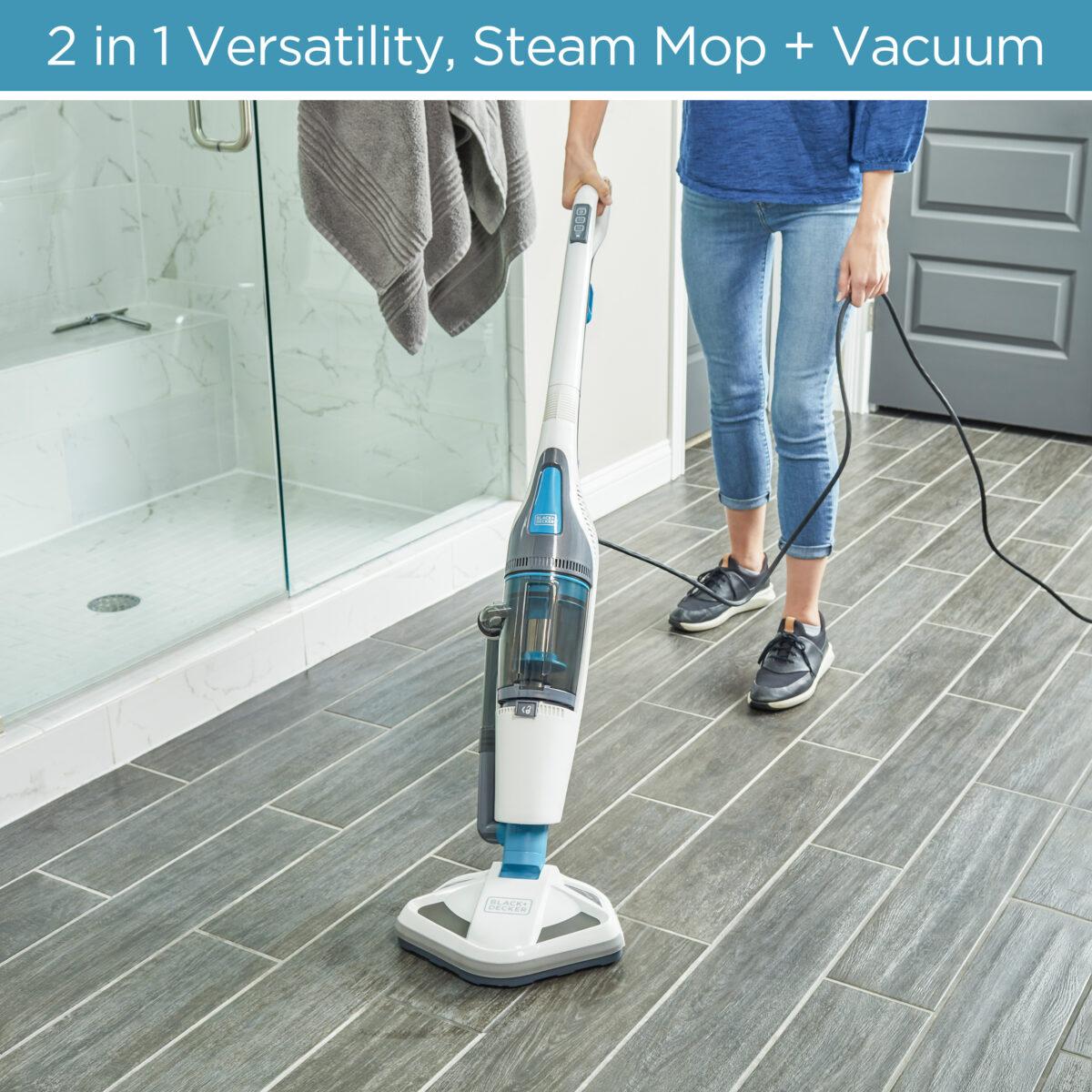 lady using a stem mop - Black + Decker Steam N' Vac Review