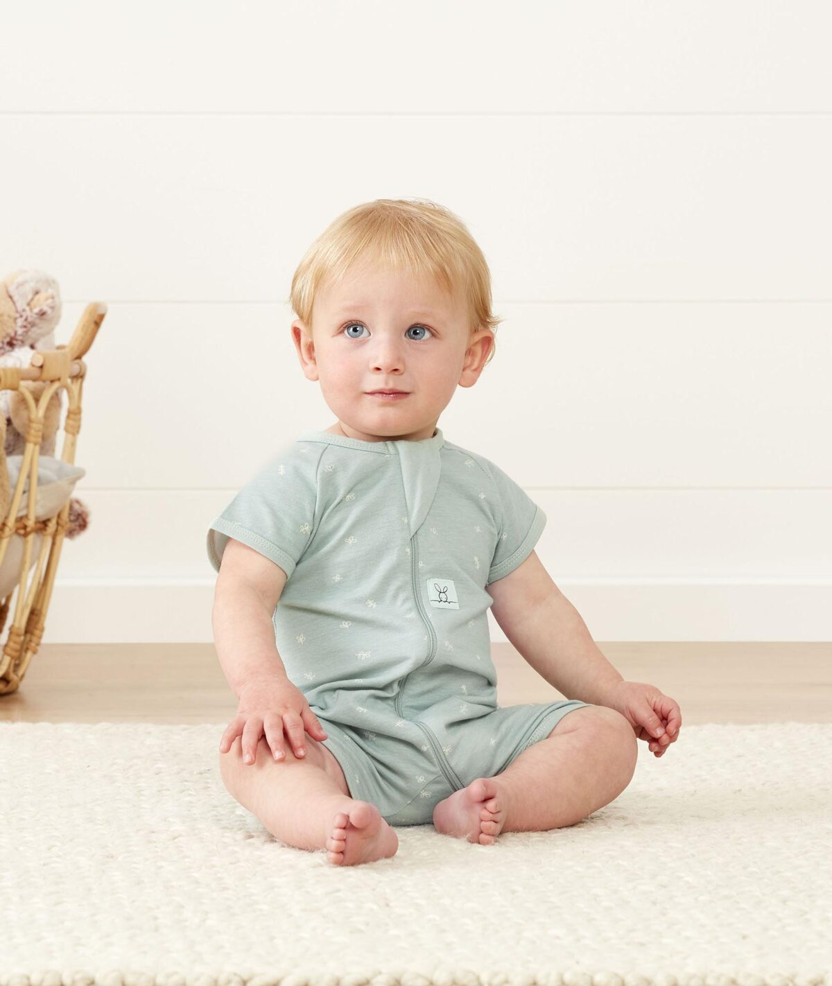 baby boy sitting - ergoPouch Pajamas Giveaway