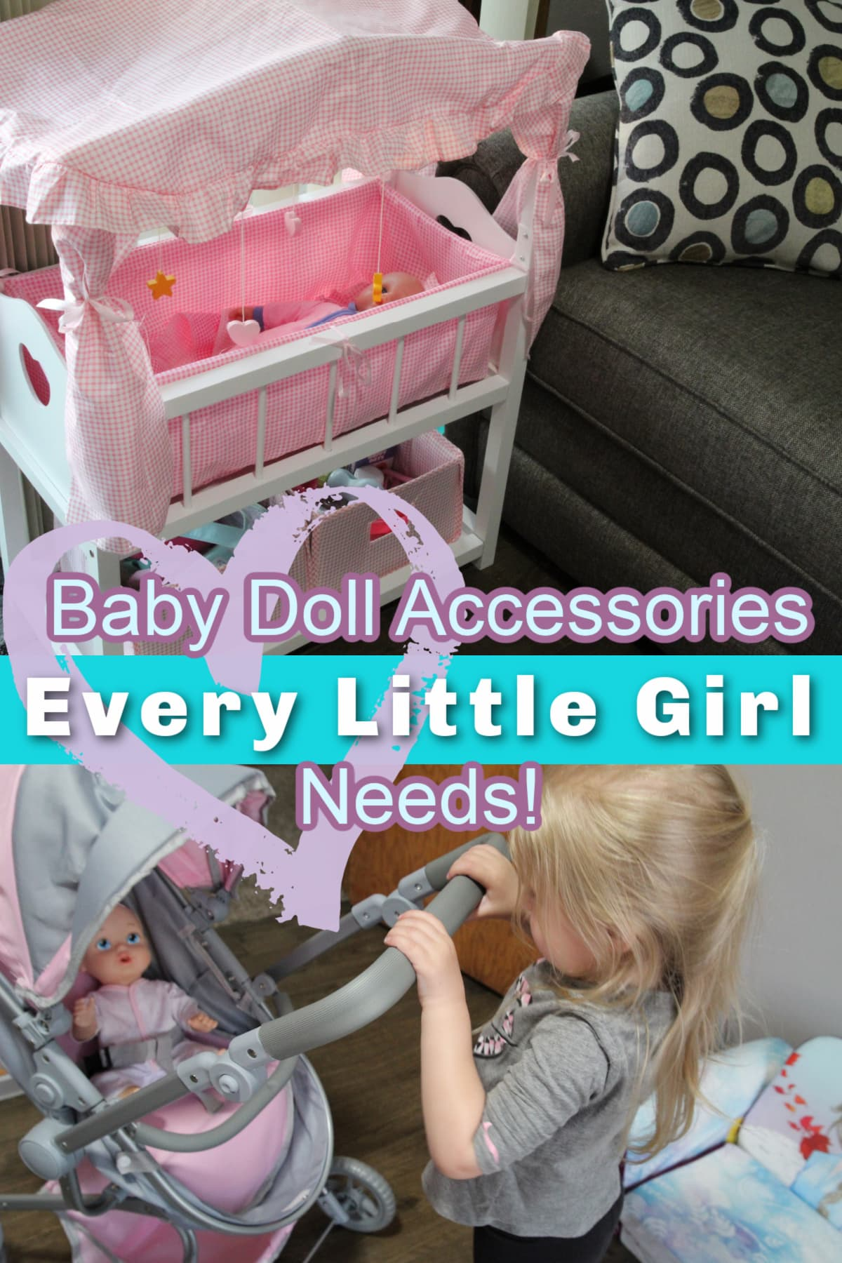 Doll Crib and Girl With Doll Stroller-Baby Doll Accessories Every Little Girl Needs