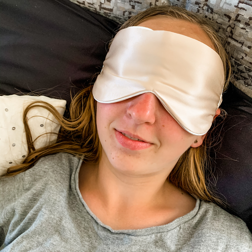girl in sleep mask
