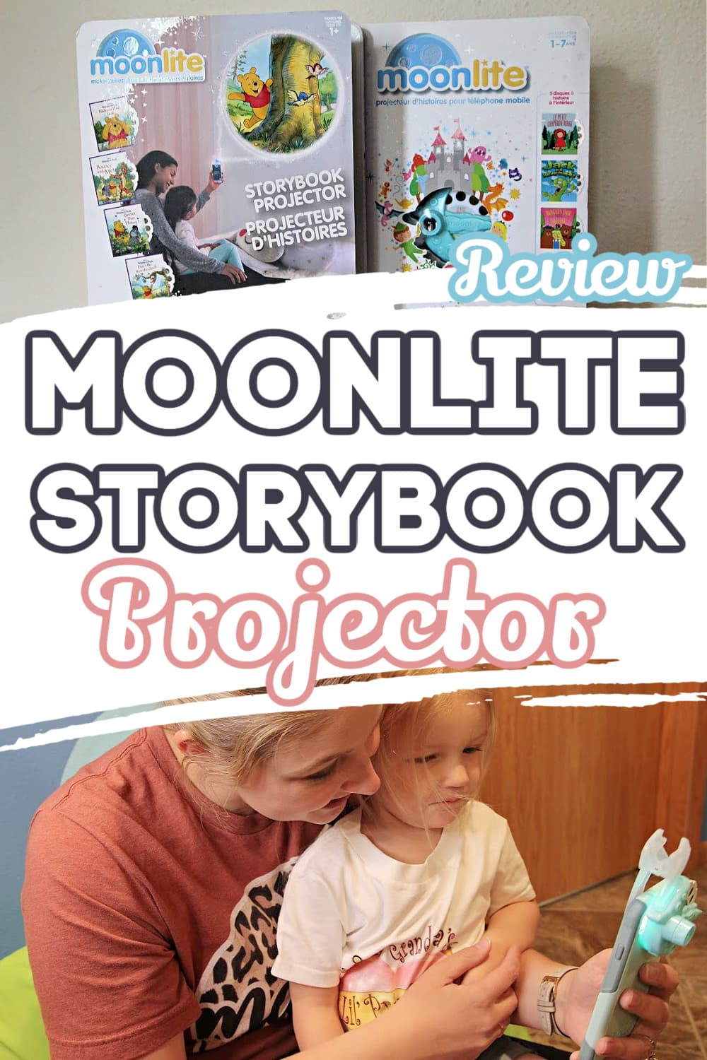 Moonlite Projectors and Mom With Daughter- Moonlite Storybook Projector