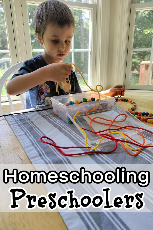 Homeschooling Preschoolers - preschool boy threading beads