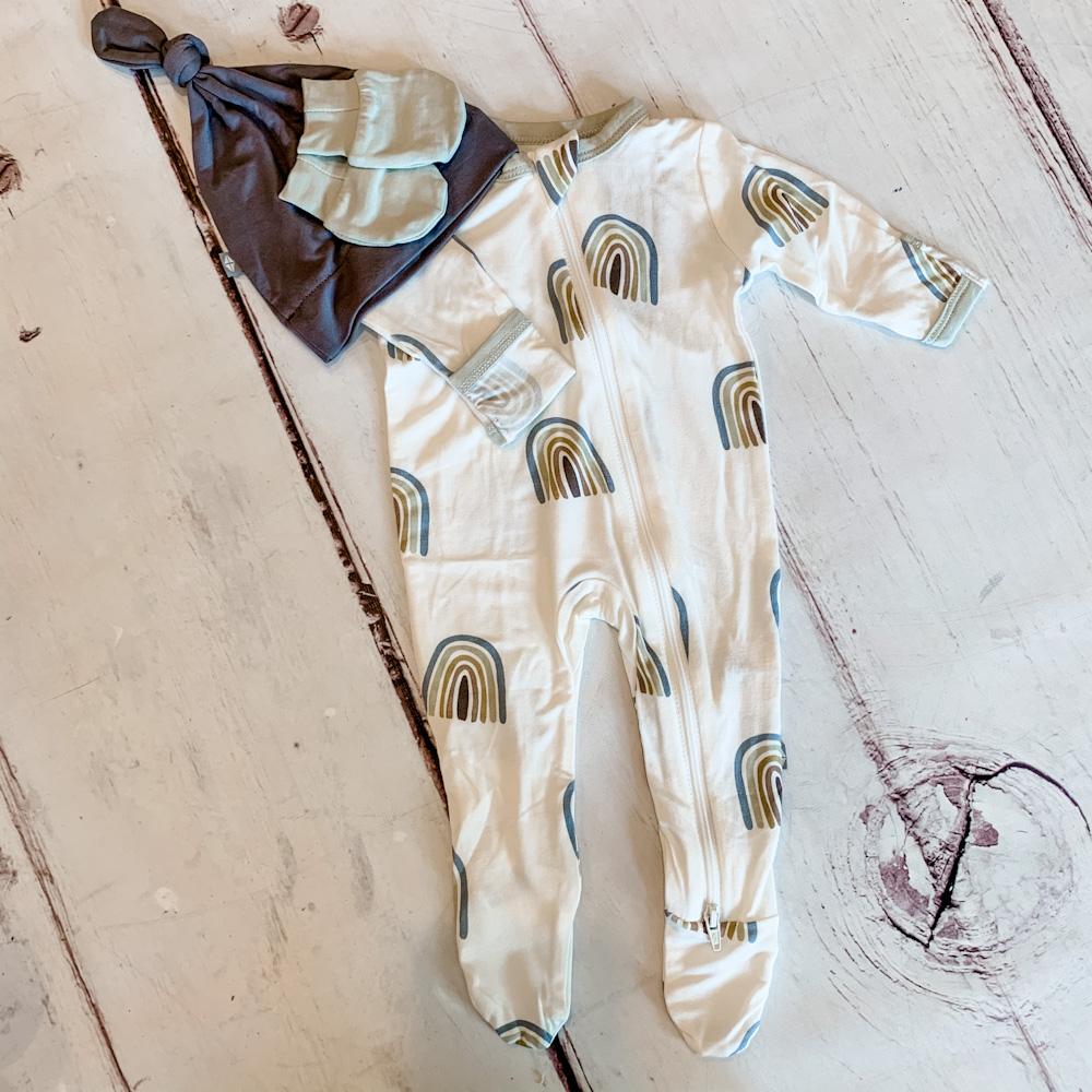 Kyte BABY newborn rainbow sleeper with hat and mitts
